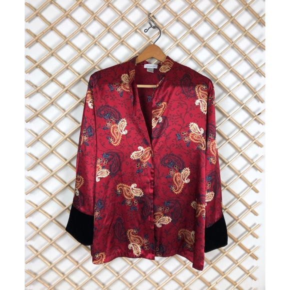 Jones New York Jackets & Blazers - Red Satin Kimono Jacket With Black Velvet Sleeve